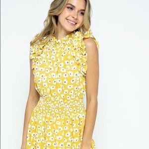 Floral Ruffle Neck and Sleeve Midi Dress
